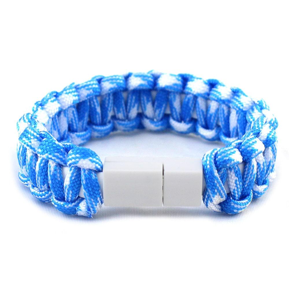 Armband Nylon hellblau weiss