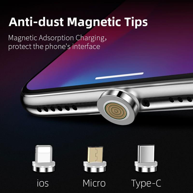 Magnetisches 3in1 Daten und Ladekabel 90° mit LED Leuchte