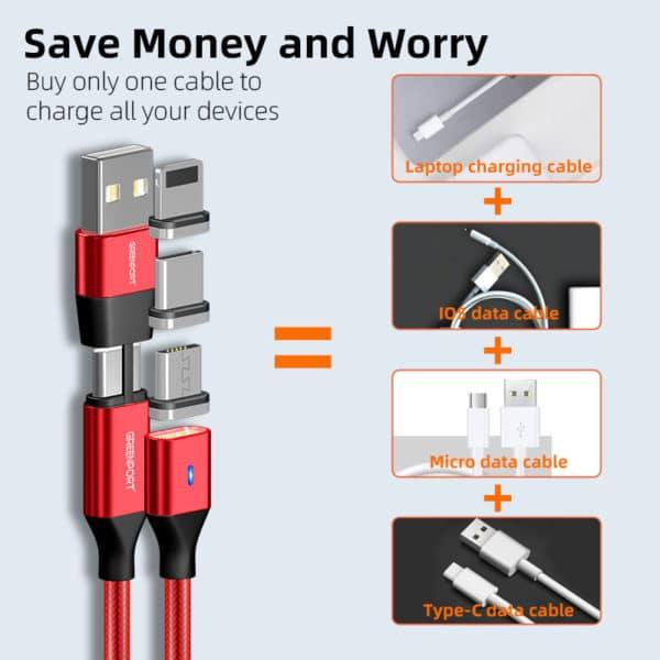 E-Shopper Magnetkabel 5in1 Datenkabel Ladekabel Greenport