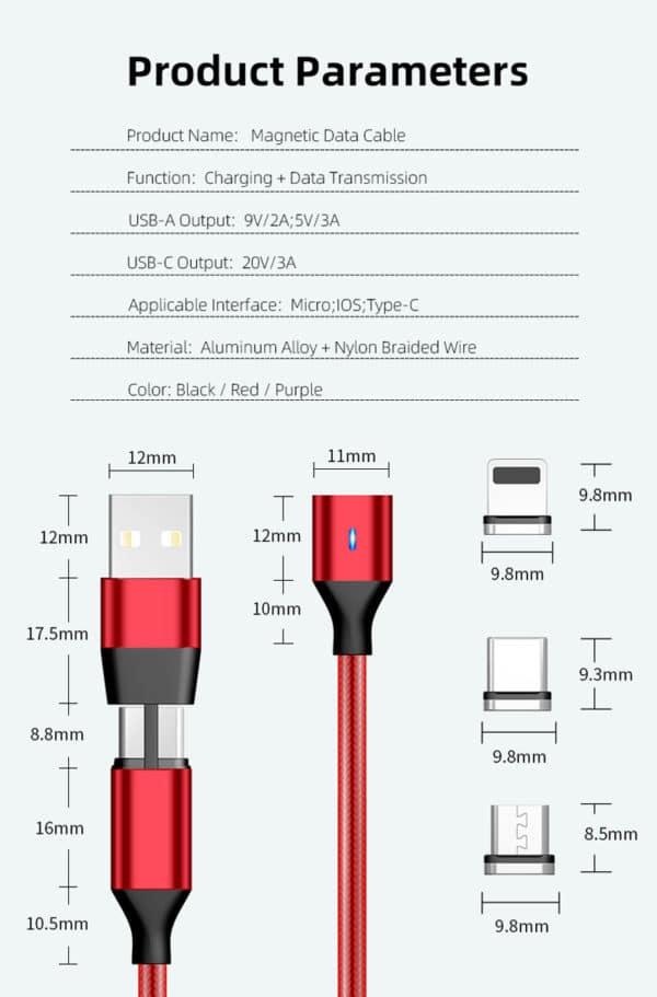 E-Shopper Magnetkabel 5in1 Datenkabel Ladekabel Greenport Parameters