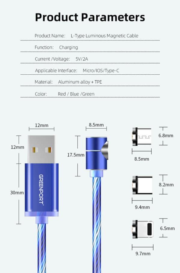 E-Shopper Leuchtendes 3in1 Magnetkabel 90 Grad Ladekabel