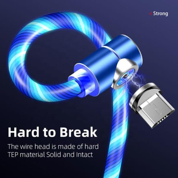 E-Shopper Leuchtendes 3in1 Magnetkabel 90 Grad Ladekabel blau