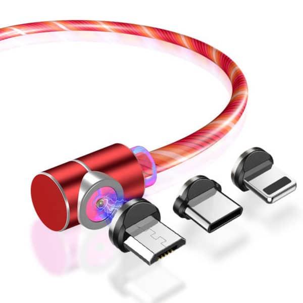 E-Shopper Leuchtendes 3in1 Magnetkabel 90 Grad Ladekabel rot