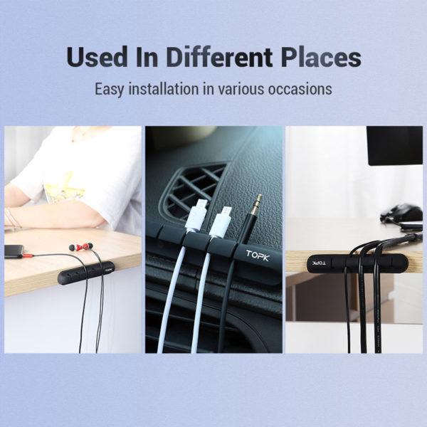 E-Shopper TOPK Kabelhalter Kabelorganizer aus Silikon mit Klebestreifen