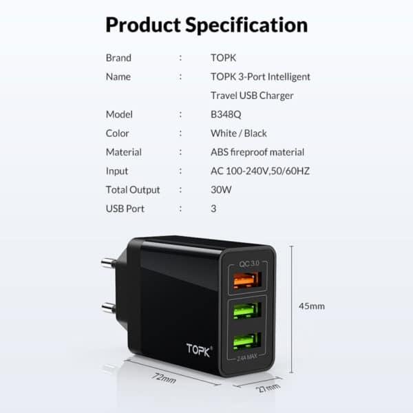 E-Shopper TOPK 30W 3-Port QC3.0 USB-Schnellladegerät Spezifikationen