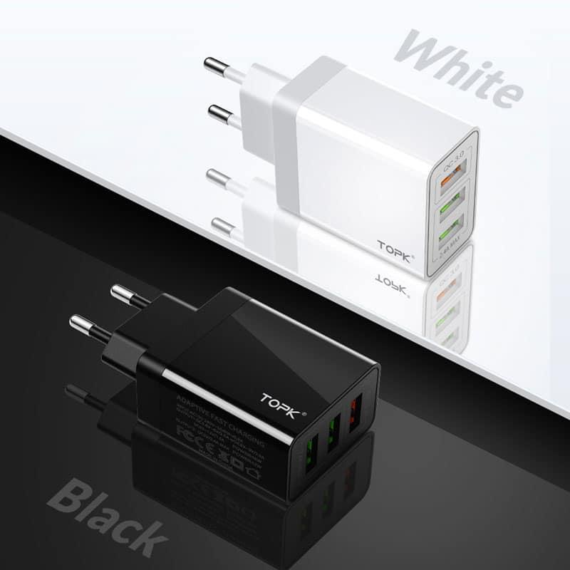 E-Shopper TOPK 30W 3-Port QC3.0 USB-Schnellladegerät