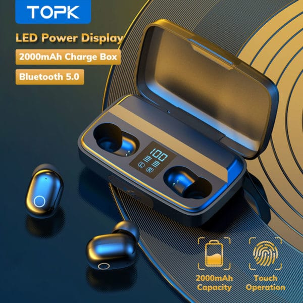 E-Shopper TOPK In-Ear Bluetooth 5.0 Stereo 3D Surround Wireless Kopfhörer