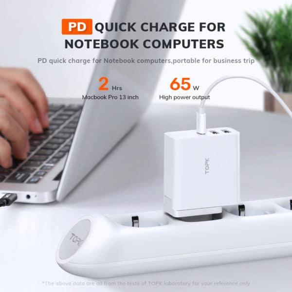 E-Shopper TOPK 3-Port USB 65W PD Typ-C QC 3.0 Schnellladegerät