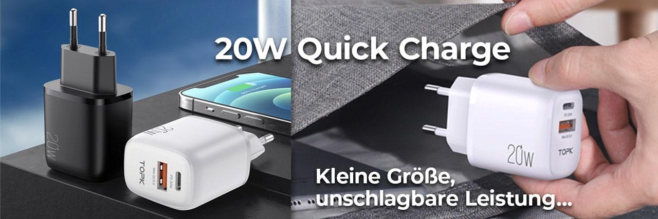 E-Shopper Baner 20W Quick Charge 3.0 PD USB-Ladegerät weiß